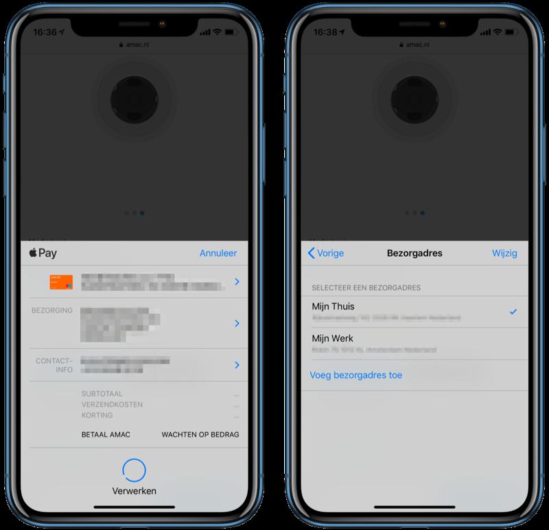 Apple Pay gegevens wijzigen tijdens betaling.