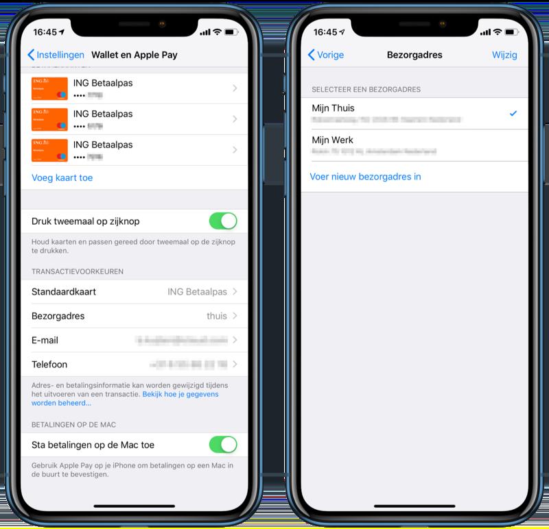 Apple Pay gegevens wijzigen in Instellingen.