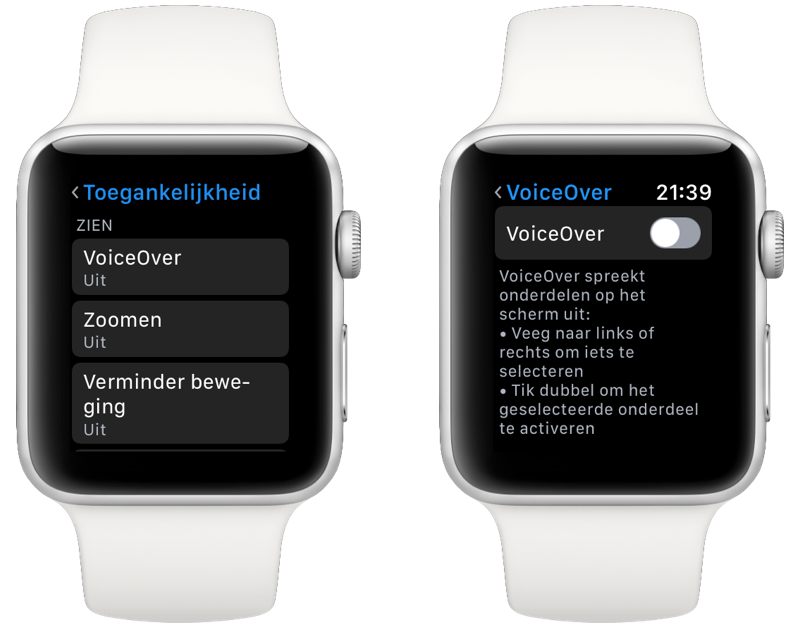 AppleWatch VoiceOver inschakelen