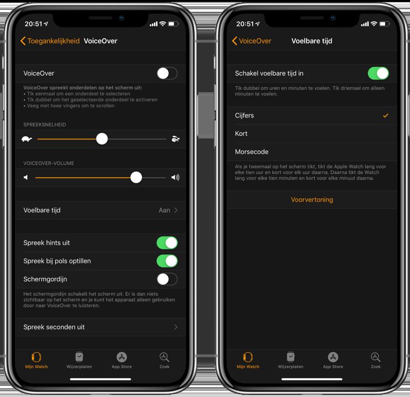 AppleWatch VoiceOver Instellingen
