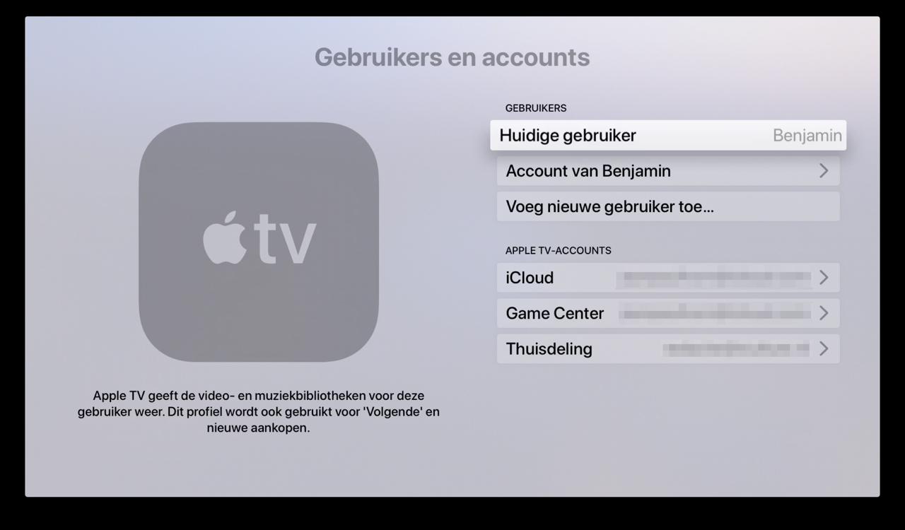 Meerdere gebruikers kiezen op Apple TV.