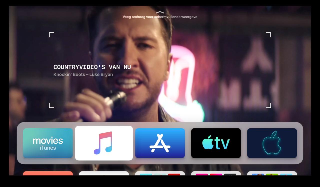 tvOS 13 beginscherm met Muziek-app.