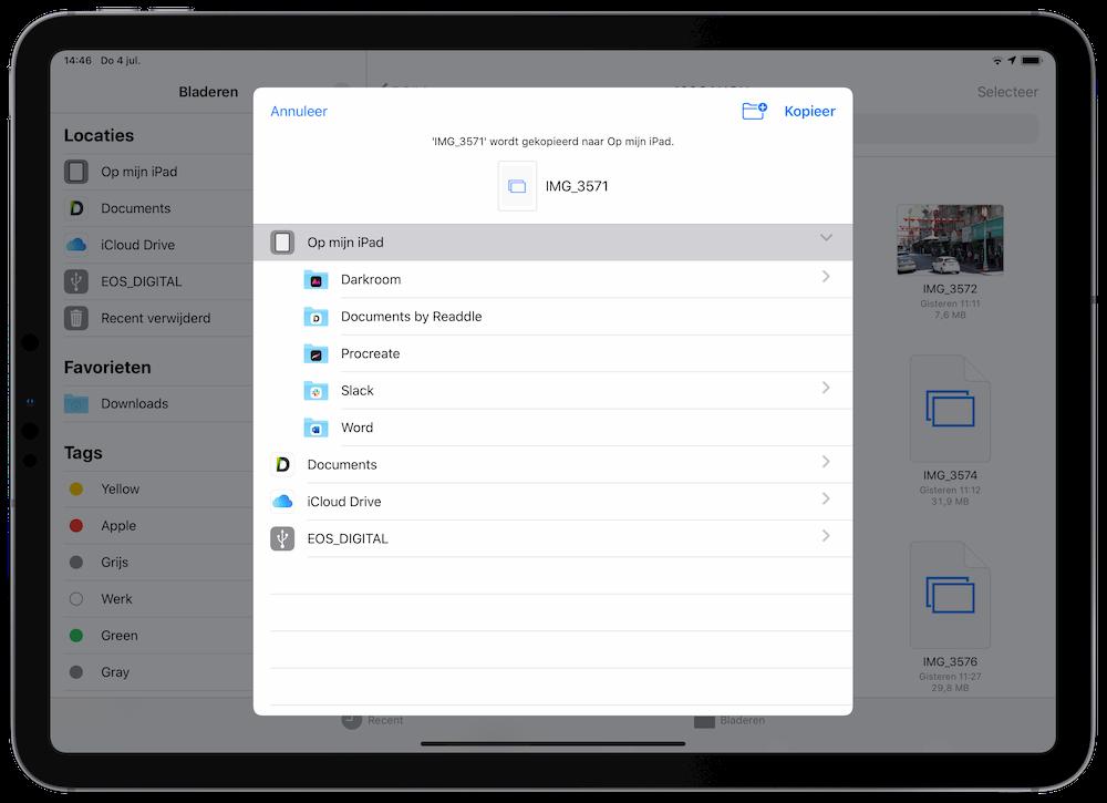 Bestanden verplaatsen op de iPad Pro