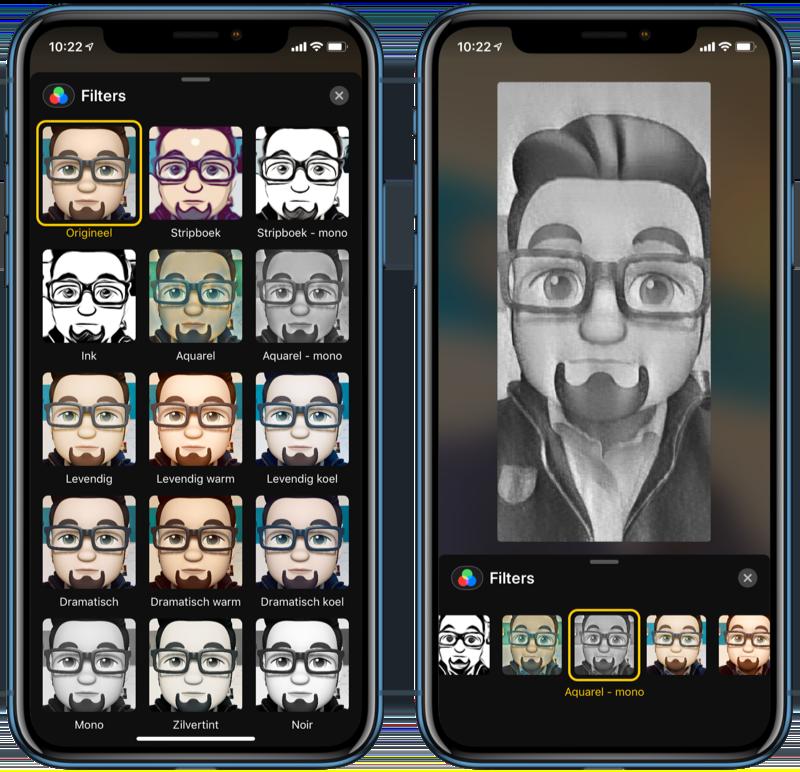FaceTime effecten met filters.