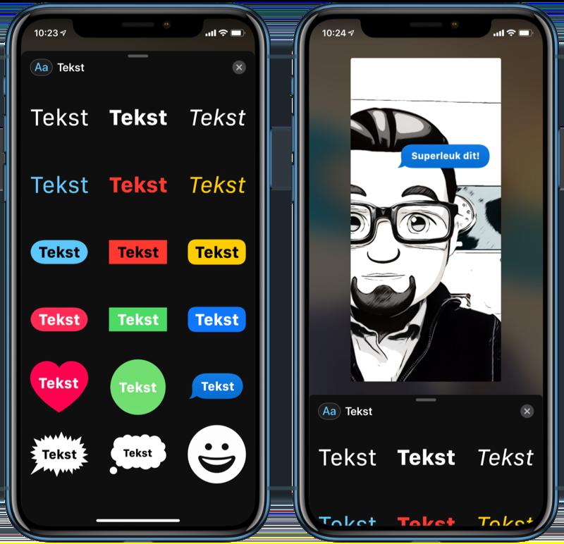 FaceTime effecten met teksten.