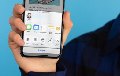 iPhone deelmenu aanpassen
