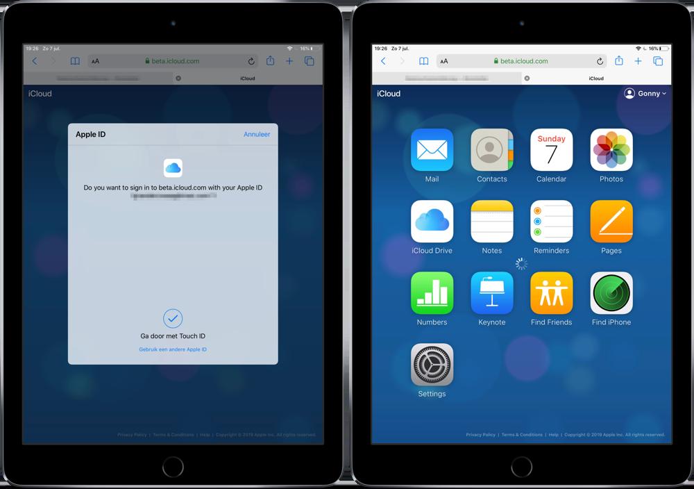 iCloud inloggen met Touch ID