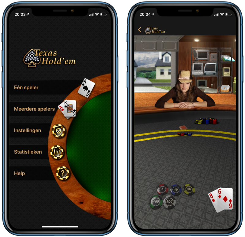 Texas Hold'em van Apple op de iPhone.