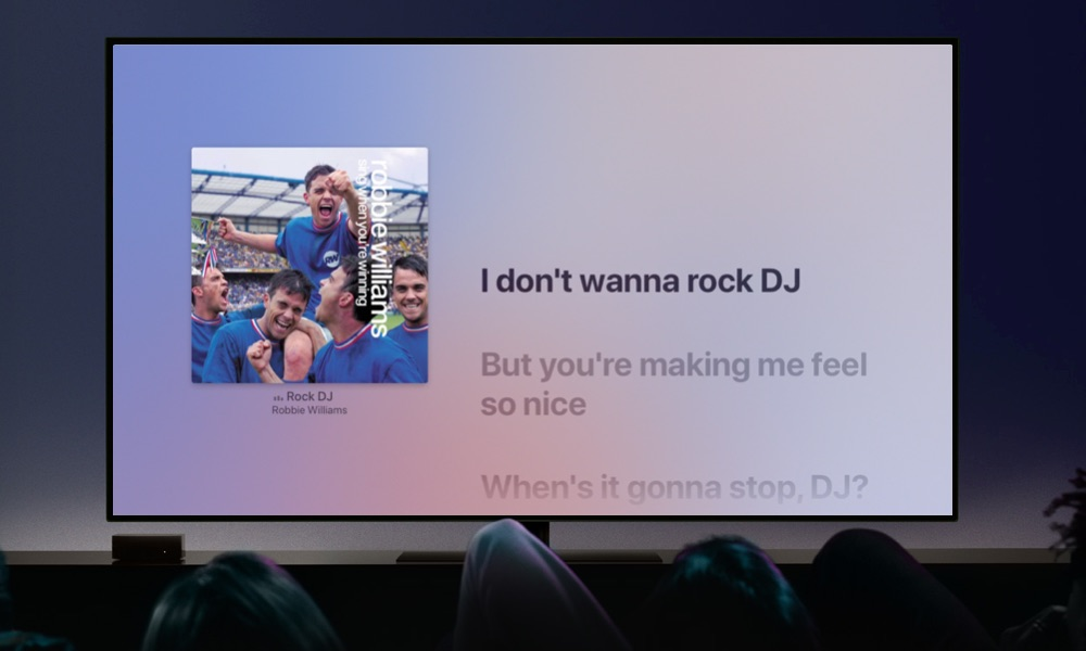Apple TV karaoke meezingen.