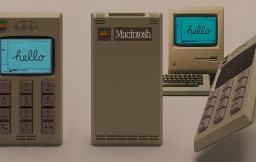 Traditionele iPhone in Macintosh design.