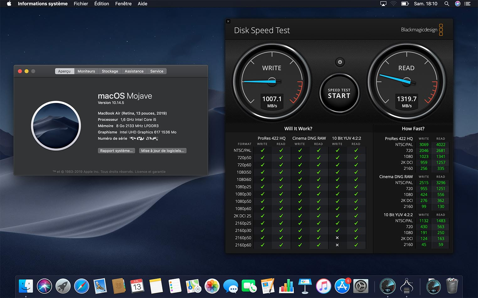 MacBook Air 2019 SSD snelheidstest.