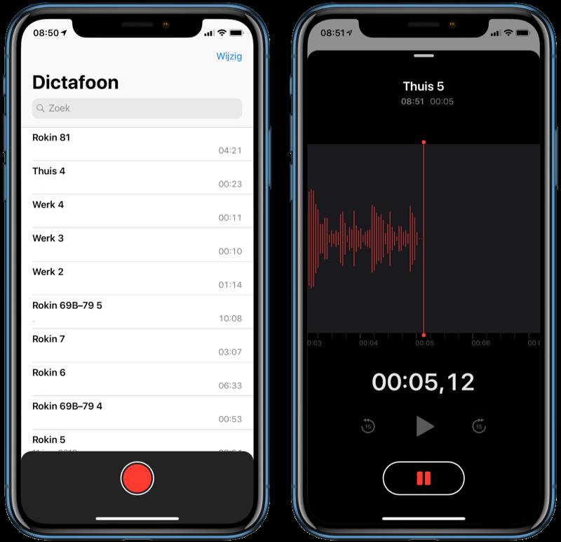 Audio-opname opnemen met Dictafoon.