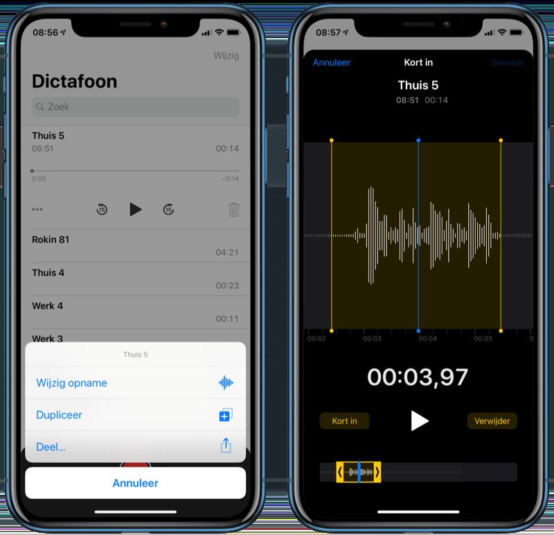 Audio-opname bewerken met Dictafoon.