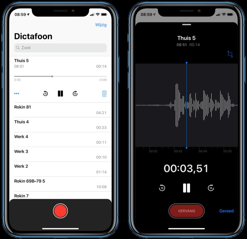 Audio-opname afspelen met Dictafoon.