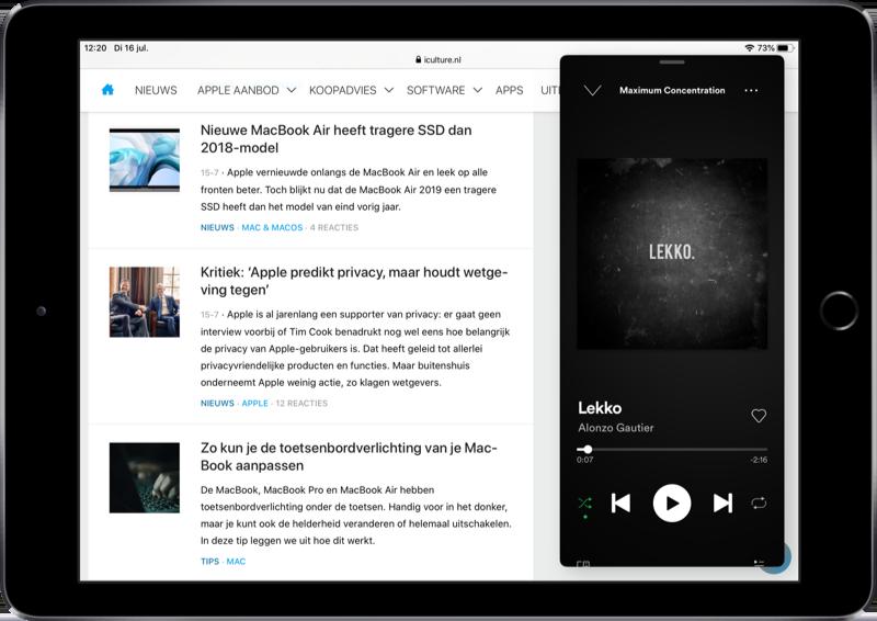 Spotify in Slide Over.
