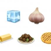 Emoji 2019 van Apple met voorwerpen en eten en drinken.