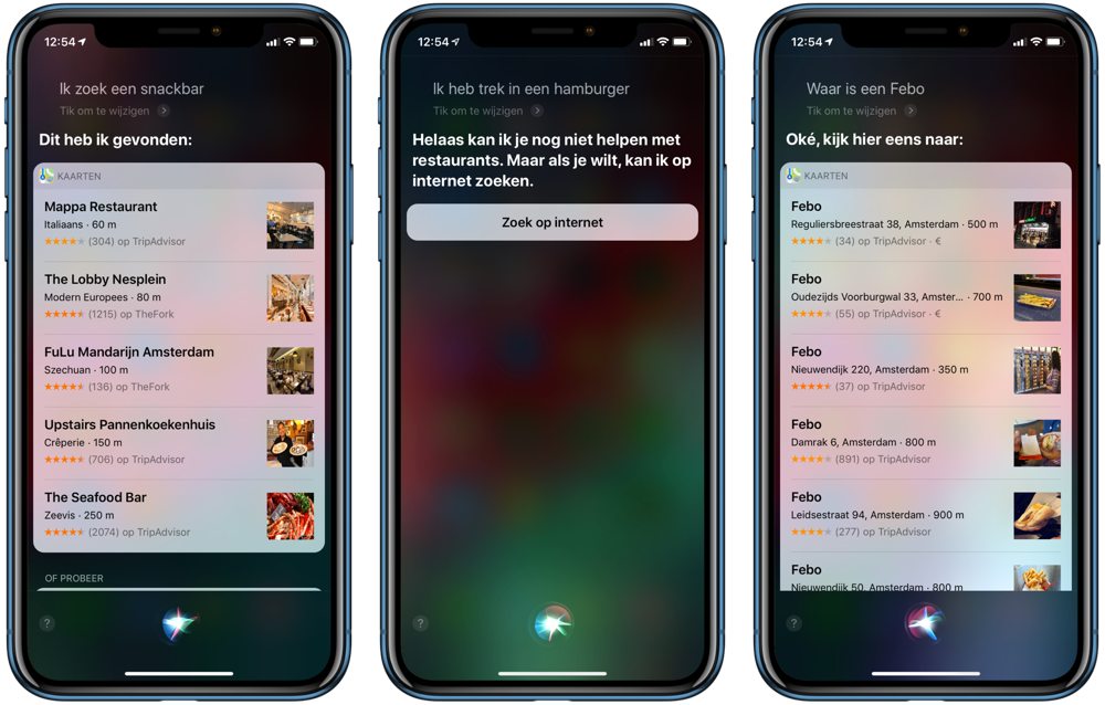 Snackbar fastfood met Siri.
