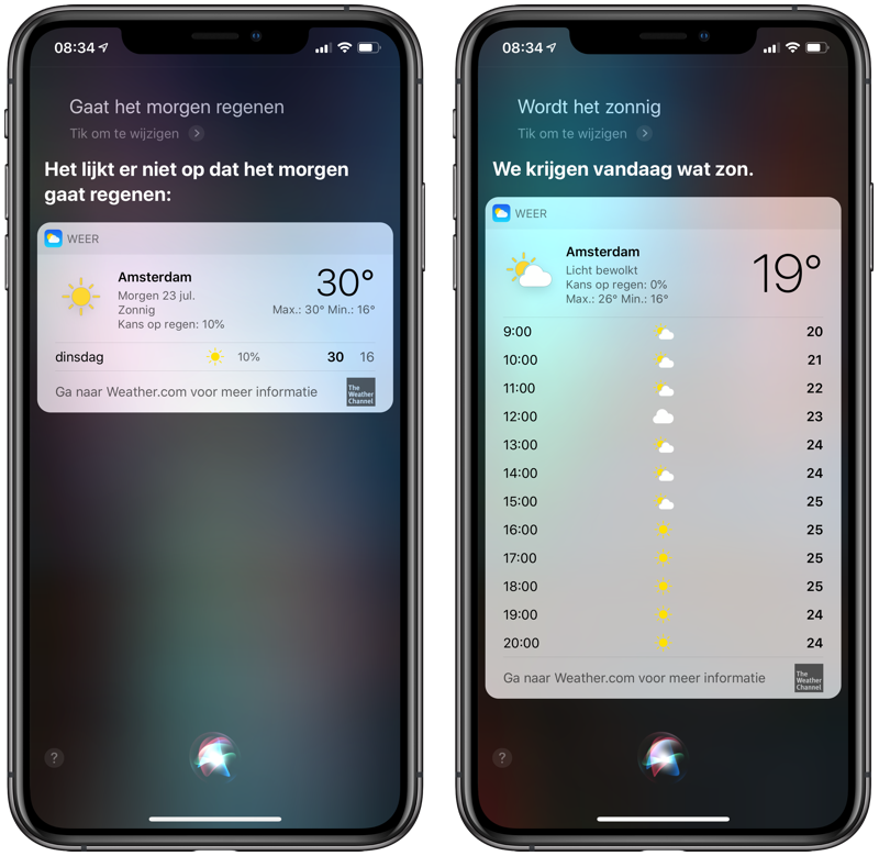 Siri weerbericht opvragen