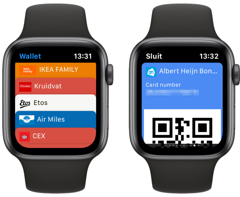 Wallet-kaarten op Apple Watch.
