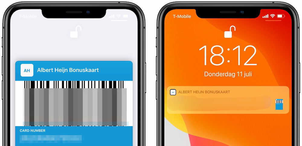 Wallet kaart op toegangsscherm