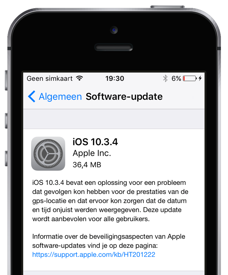 iOS 10.3.4 op een iPhone 5.