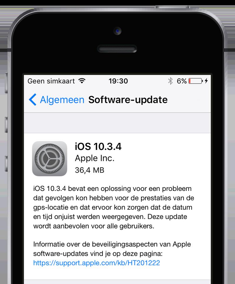 iOS 10.3.4 op een iPhone 5.