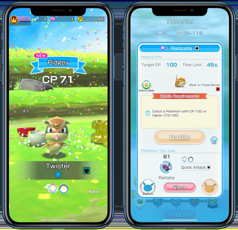 Pokémon Rumble Rush met Pidgey.