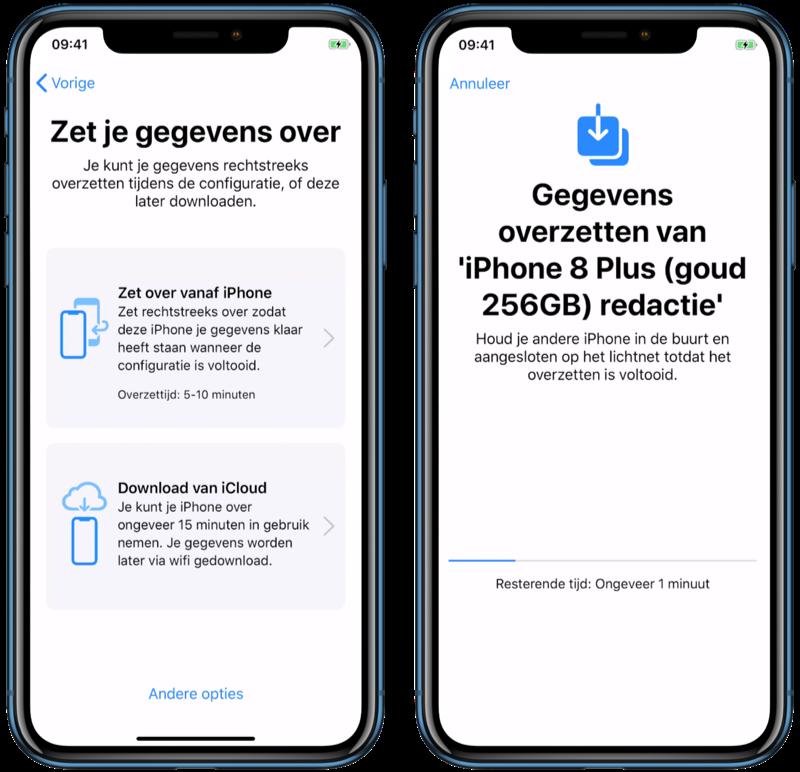iphone-gegevens overzetten via iPhone-migratie.