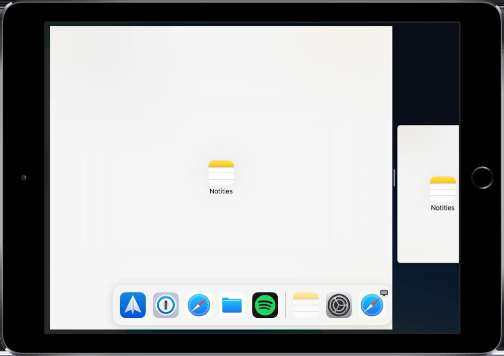 Op de iPad meerdere vensters naast elkaar gebruiken.