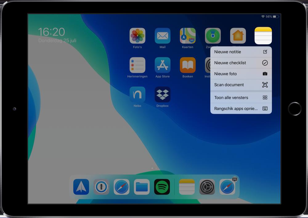 Toon alle vensters in iPadOS 13.