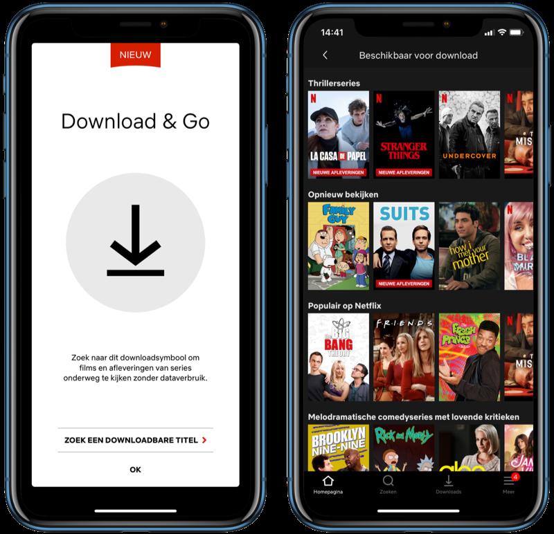 Netflix Download & Go beschikbare titels.
