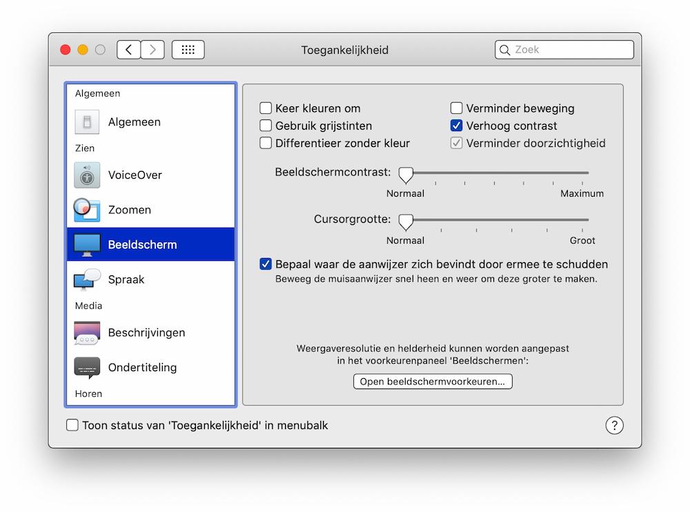 Verhoog contrast op de Mac instellen