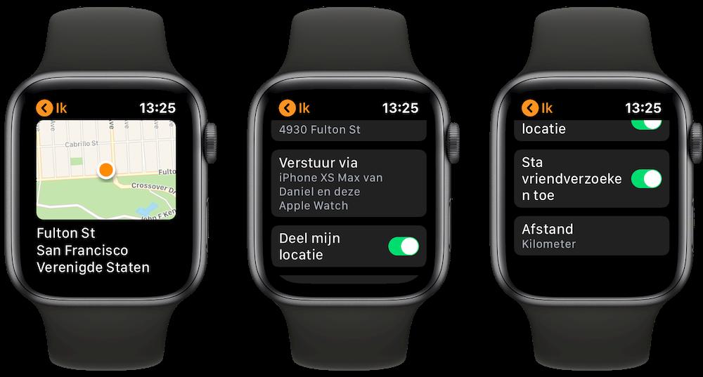 Ik menu Zoek mijn Vrienden Apple Watch