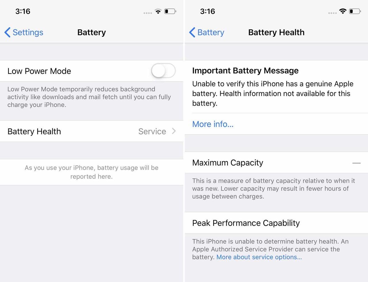 iPhone-batterij servicemelding