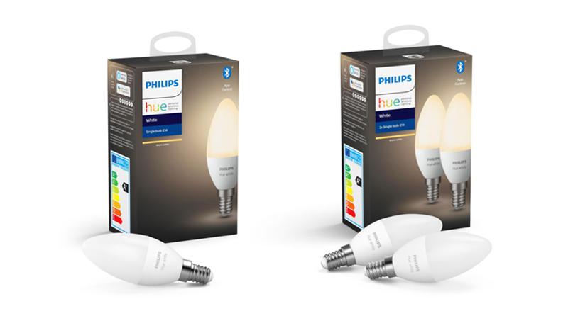 Philips Hue E14 kaarslamp met witlicht en Bluetooth.