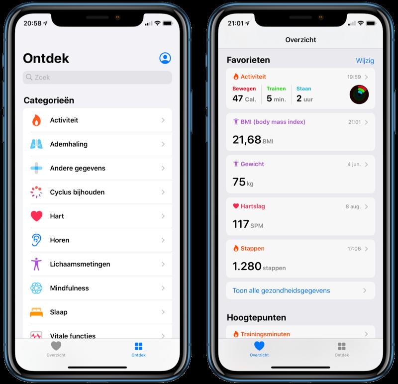 Gezondheid-app in iOS 13 met nieuw design.