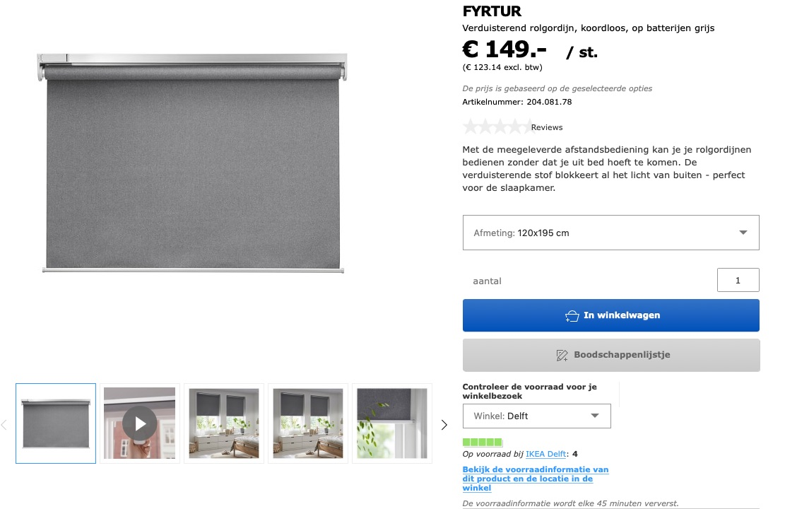 IKEA Fyrtur rolgordijnen beschikbaar.