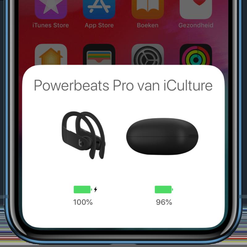 PowerBeats Pro batterij melding.