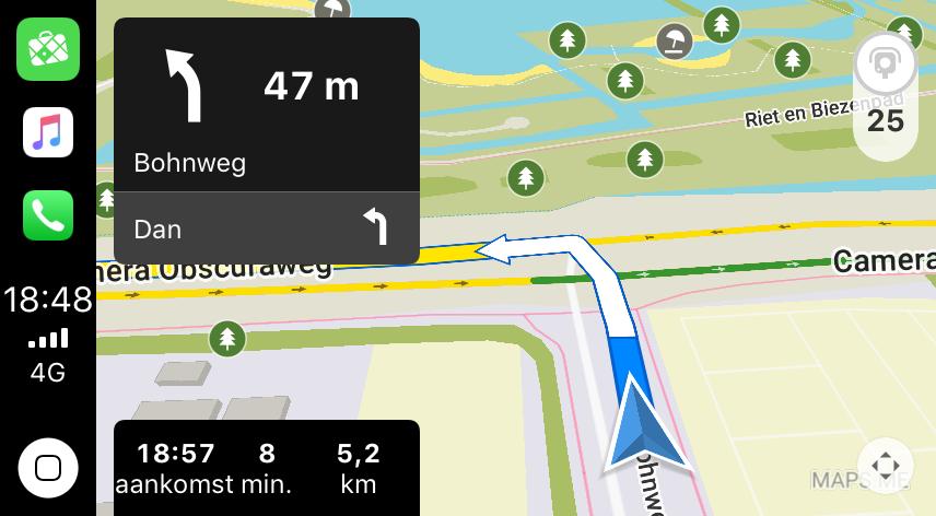Navigatie met Maps.me voor CarPlay.