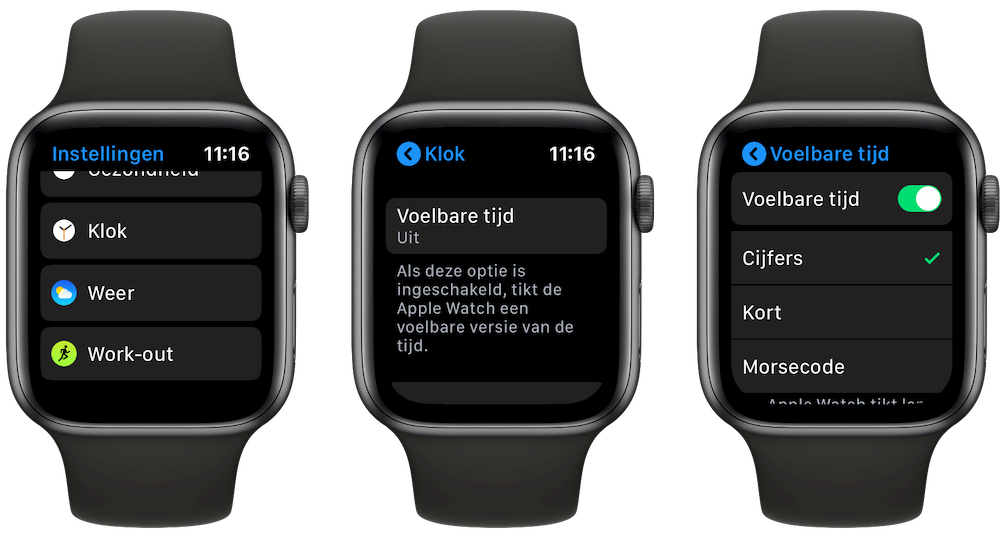 Voelbare tijd op Apple Watch watchOS 6