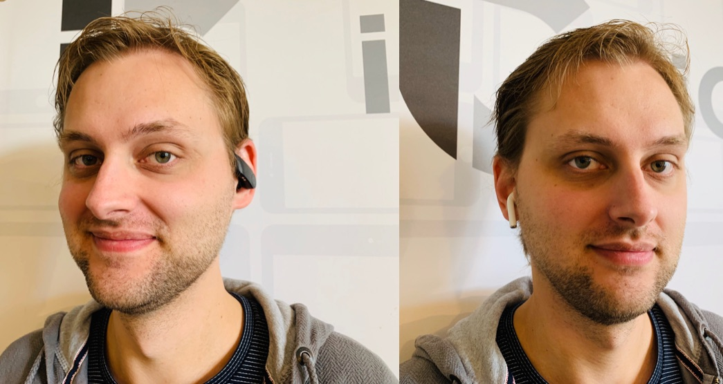 PowerBeats Pro en AirPods in oren.