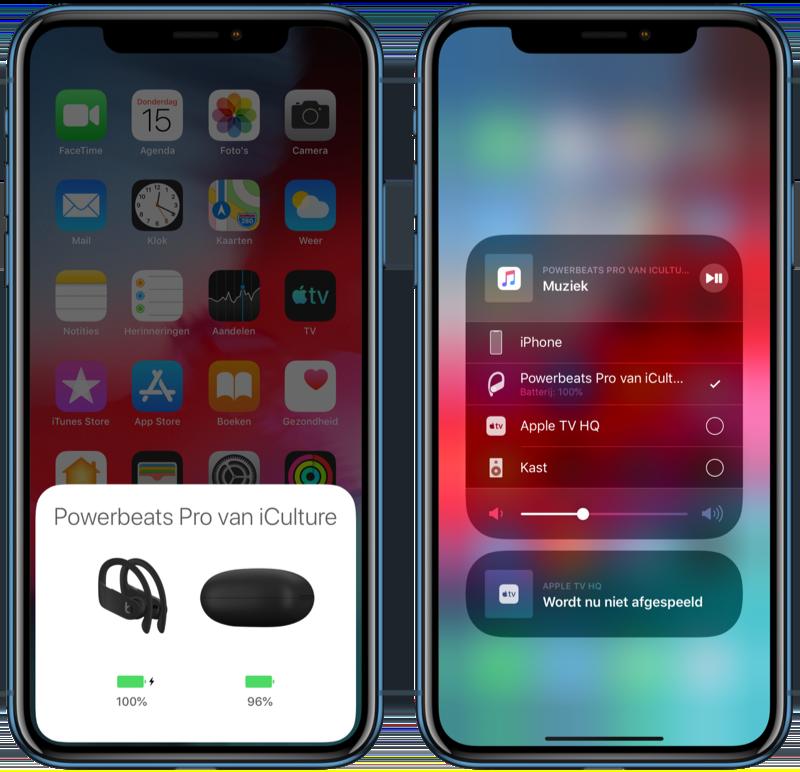 PowerBeats Pro op iPhone.