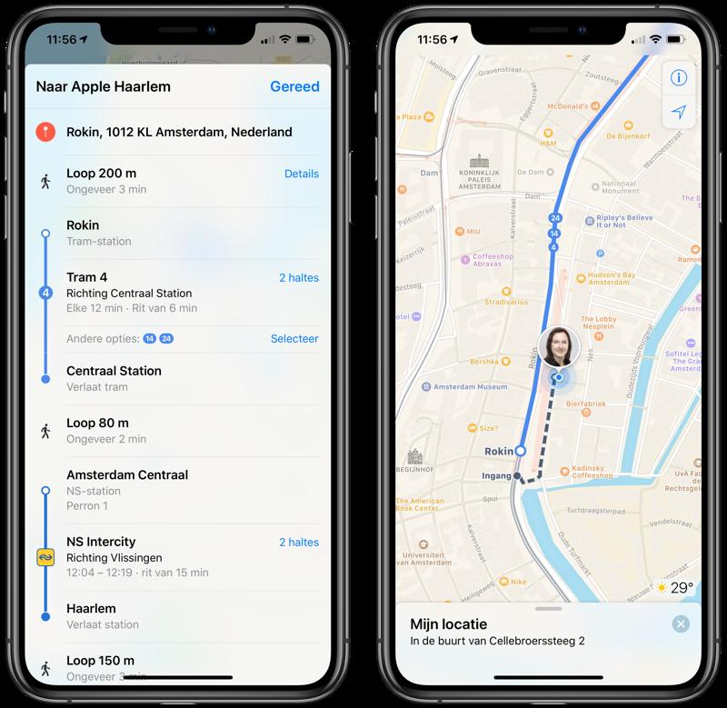 OV Route plannen Apple Maps