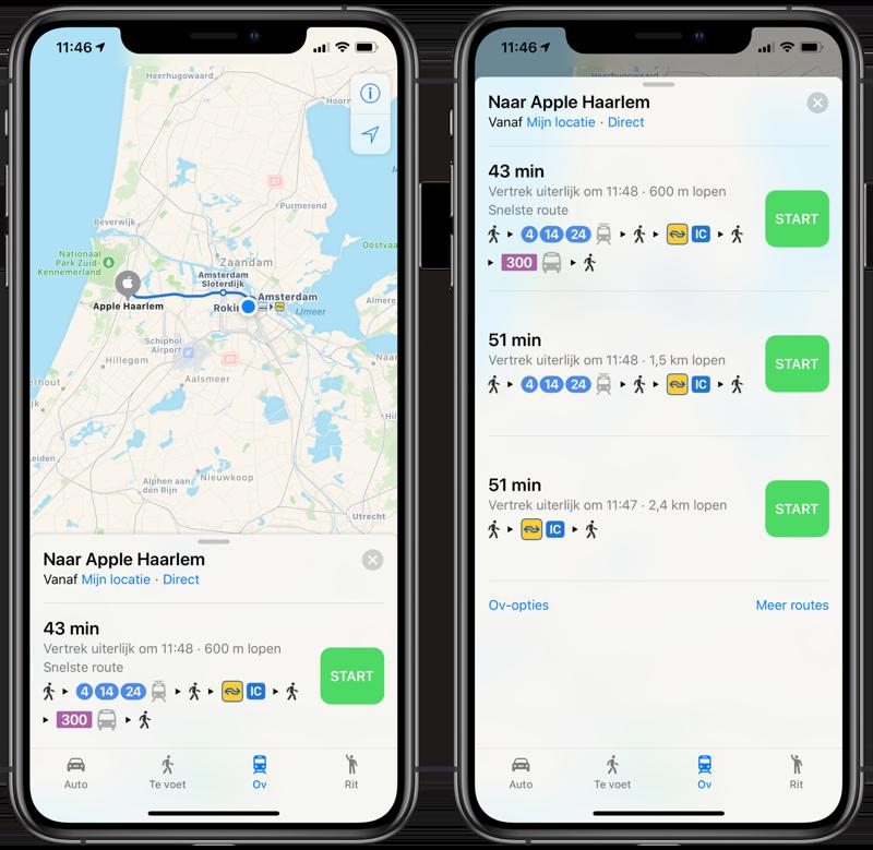 Route plannen met Apple Kaarten