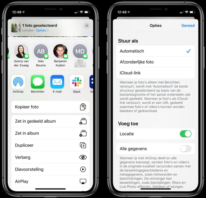 iOS 13 deelmenu met contacten en opties.