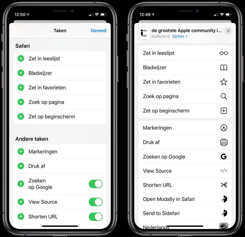 iOS 13 deelmenu in Safari.