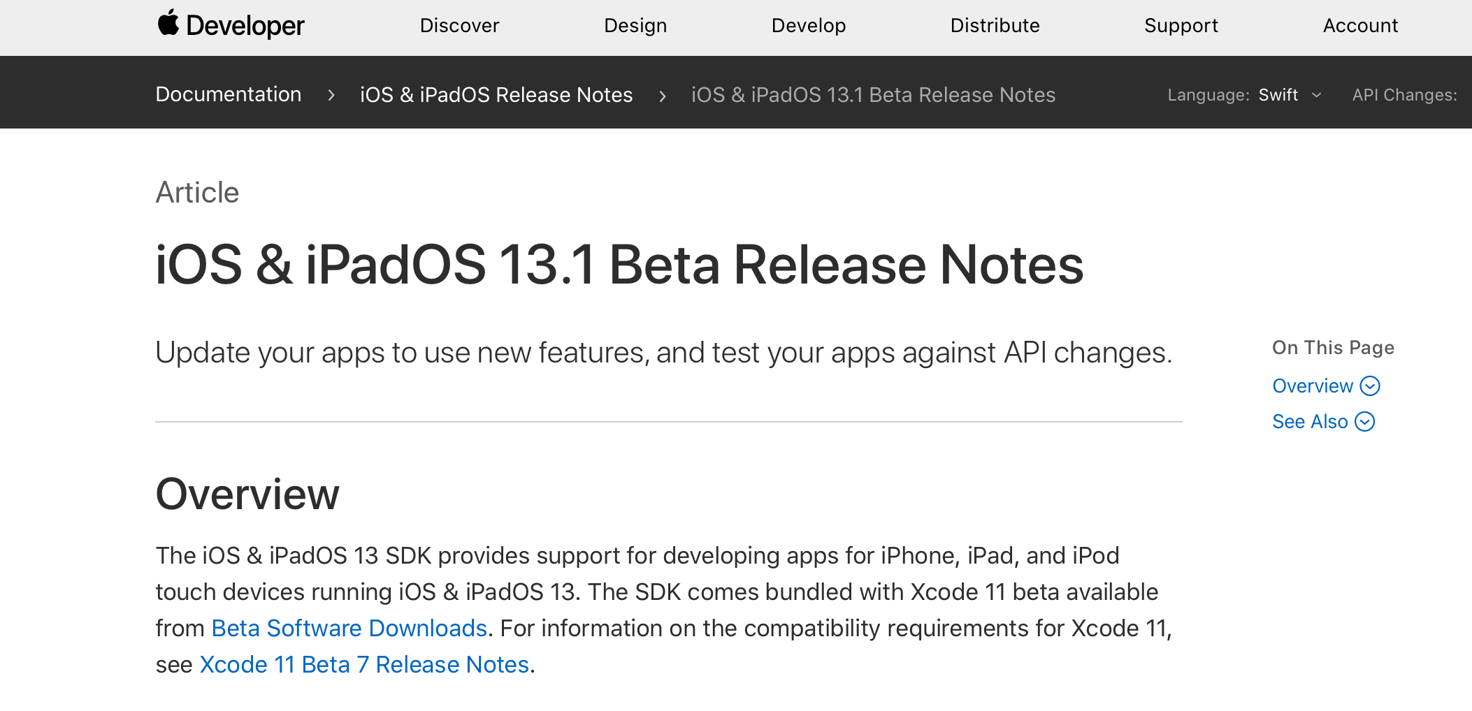 iOS 13.1 beta releasenotes