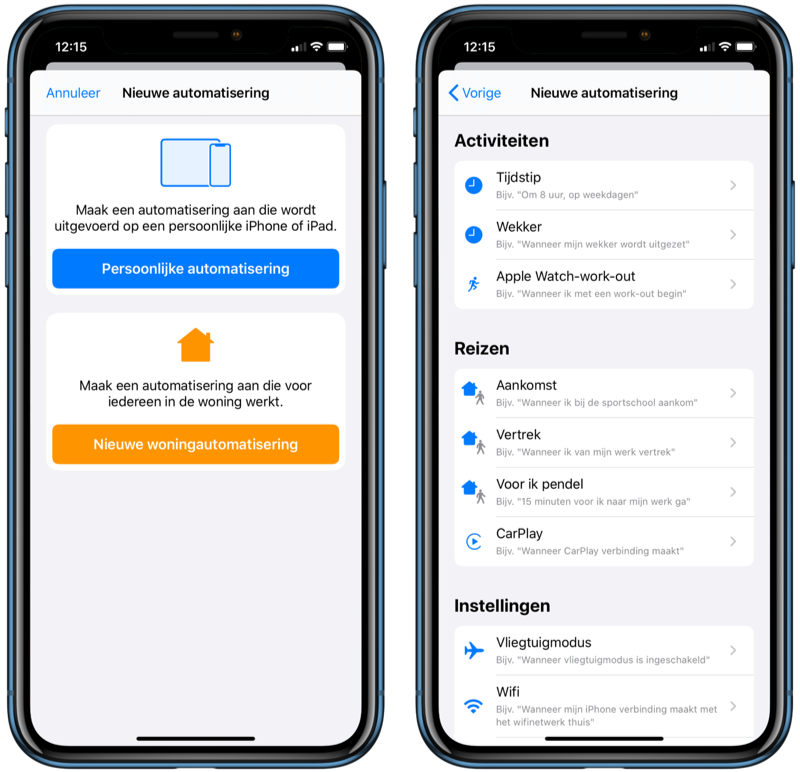 Automations in Siri Shortcuts in iOS 13.1.