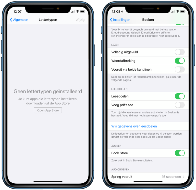 iOS 13.1: Lettertypen en leesdoelen in Boeken.
