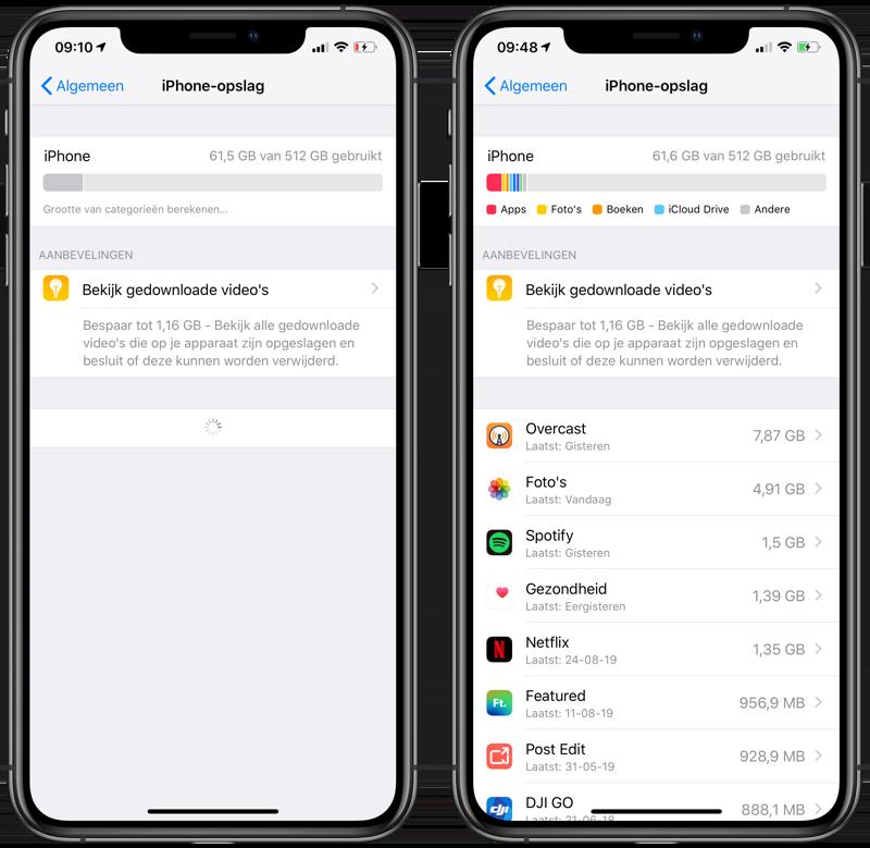 Opslag apps ruimte vrijmaken